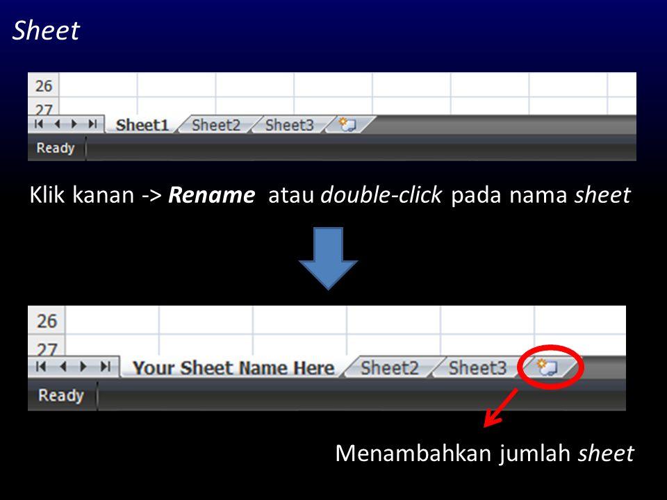 Beberapa fungsi dalam Excel SUM : menjumlah data dalam cell SUMIF : menjumlahkan dengan kondisi tertentu AVERAGE : menghitung nilai rata-rata STDEV : menghitung standar deviasi MAX : menentukan nilai maksimum MIN : menentukan nilai minimun COUNT : menghitung jumlah cell IF : membuat fungsi kondisi