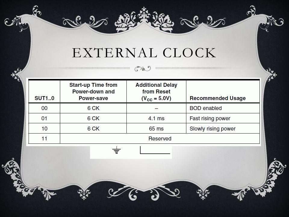 EXTERNAL CLOCK  Pengguna bisa menggunakan external clock tanpa menggunakan crystal maupun RC  Melakukan konfigurasi bit CKSEL3..0