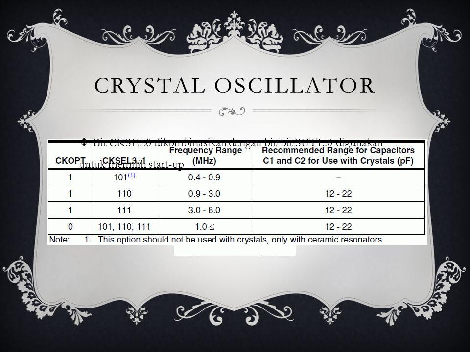CRYSTAL OSCILLATOR  Bit CKSEL0 dikombinasikan dengan bit-bit SUT1..0 digunakan untuk memilih start-up