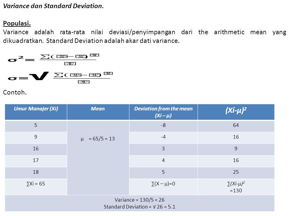 Variance dan Standard Deviation. Populasi. Variance adalah rata-rata nilai deviasi/penyimpangan dari the arithmetic mean yang dikuadratkan. Standard D