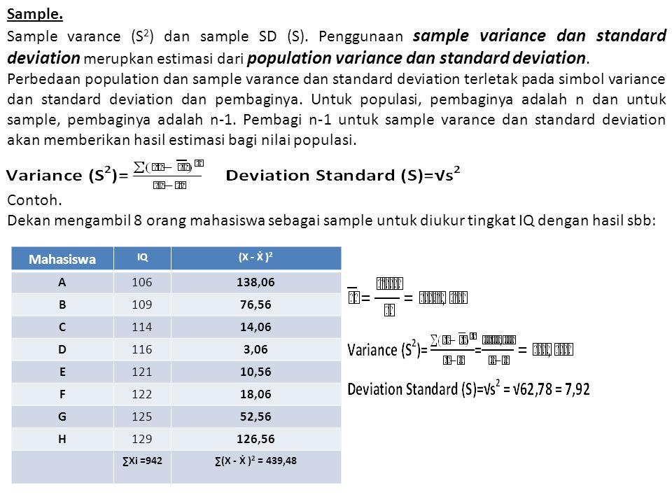 Sample. Sample varance (S 2 ) dan sample SD (S). Penggunaan sample variance dan standard deviation merupkan estimasi dari population variance dan stan