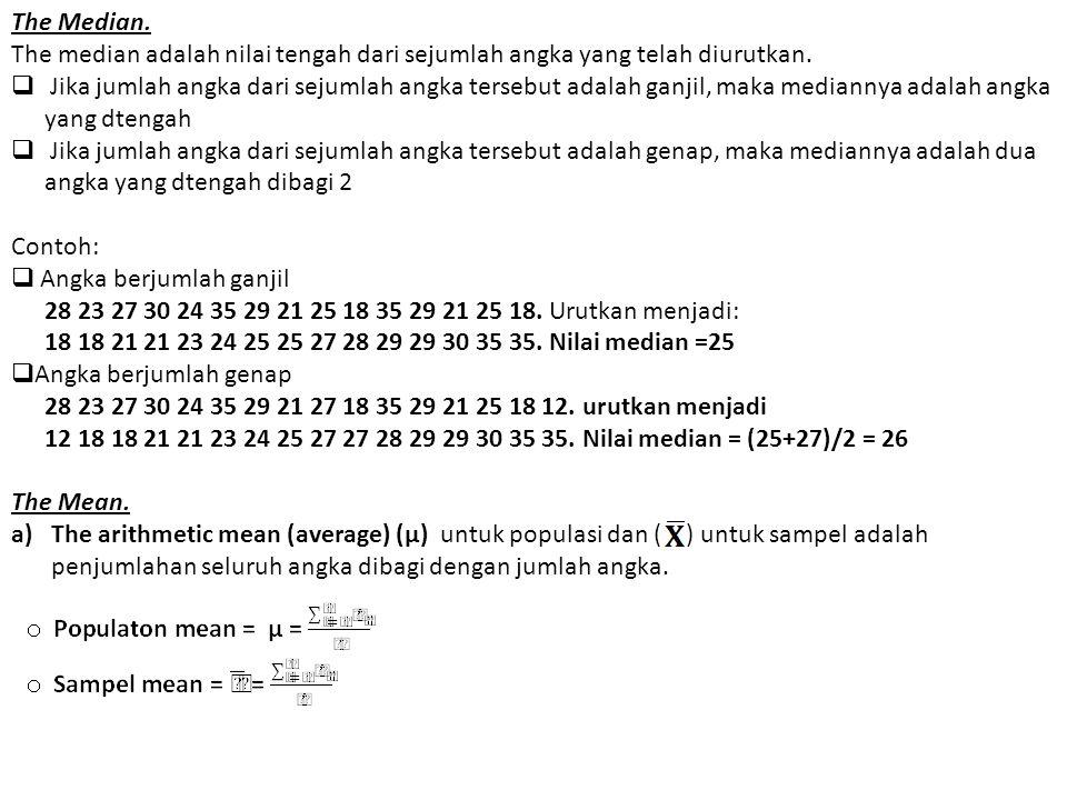 The Median. The median adalah nilai tengah dari sejumlah angka yang telah diurutkan.  Jika jumlah angka dari sejumlah angka tersebut adalah ganjil, m