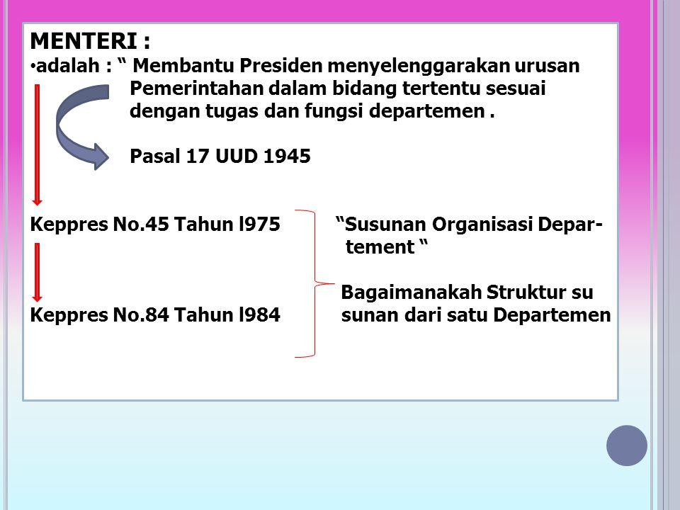 MENTERI : adalah : Membantu Presiden menyelenggarakan urusan Pemerintahan dalam bidang tertentu sesuai dengan tugas dan fungsi departemen.