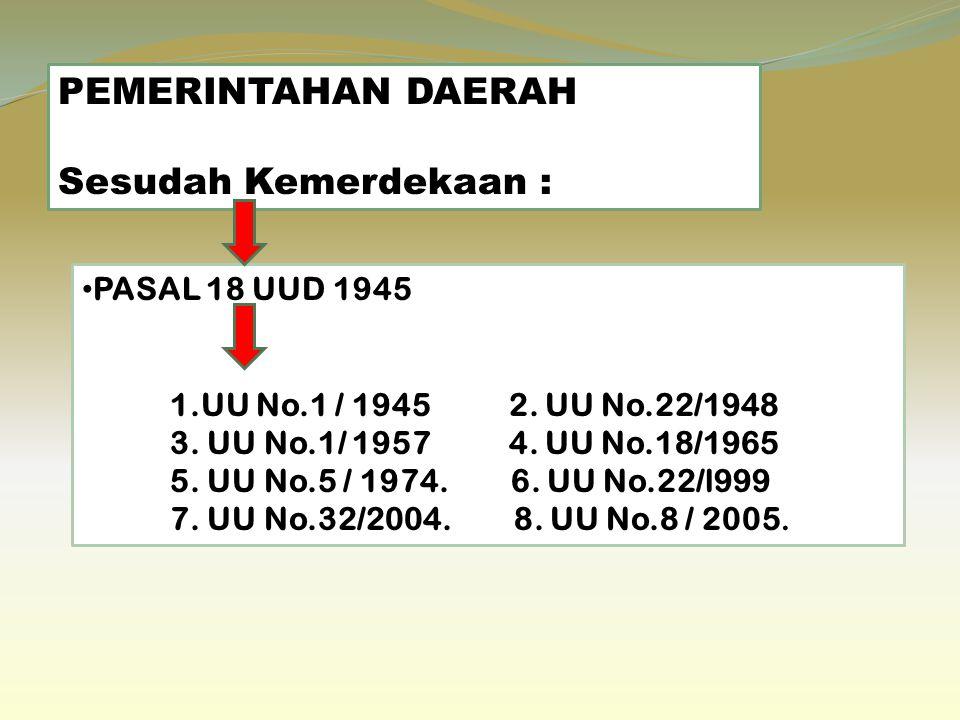 PEMERINTAHAN DAERAH Sesudah Kemerdekaan : PASAL 18 UUD 1945 1.UU No.1 / 1945 2.