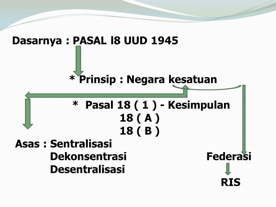 Dasarnya : PASAL l8 UUD 1945 * Prinsip : Negara kesatuan * Pasal 18 ( 1 ) - Kesimpulan 18 ( A ) 18 ( B ) Asas : Sentralisasi Dekonsentrasi Federasi Desentralisasi RIS