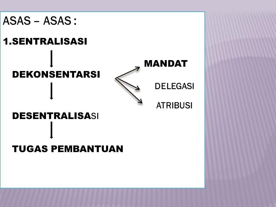 ASAS – ASAS : 1.SENTRALISASI MANDAT DEKONSENTARSI DELEGASI ATRIBUSI DESENTRALISA SI TUGAS PEMBANTUAN