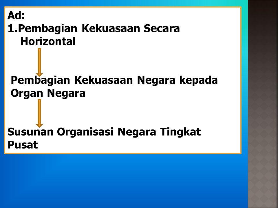 Ad: 1.Pembagian Kekuasaan Secara Horizontal Pembagian Kekuasaan Negara kepada Organ Negara Susunan Organisasi Negara Tingkat Pusat