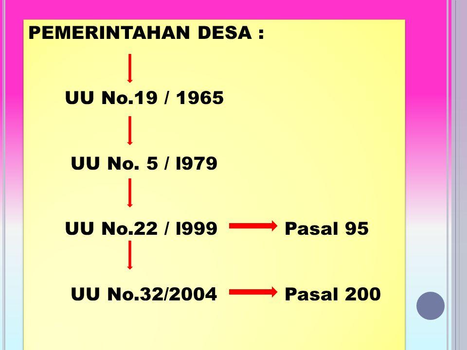 PEMERINTAHAN DESA : UU No.19 / 1965 UU No.