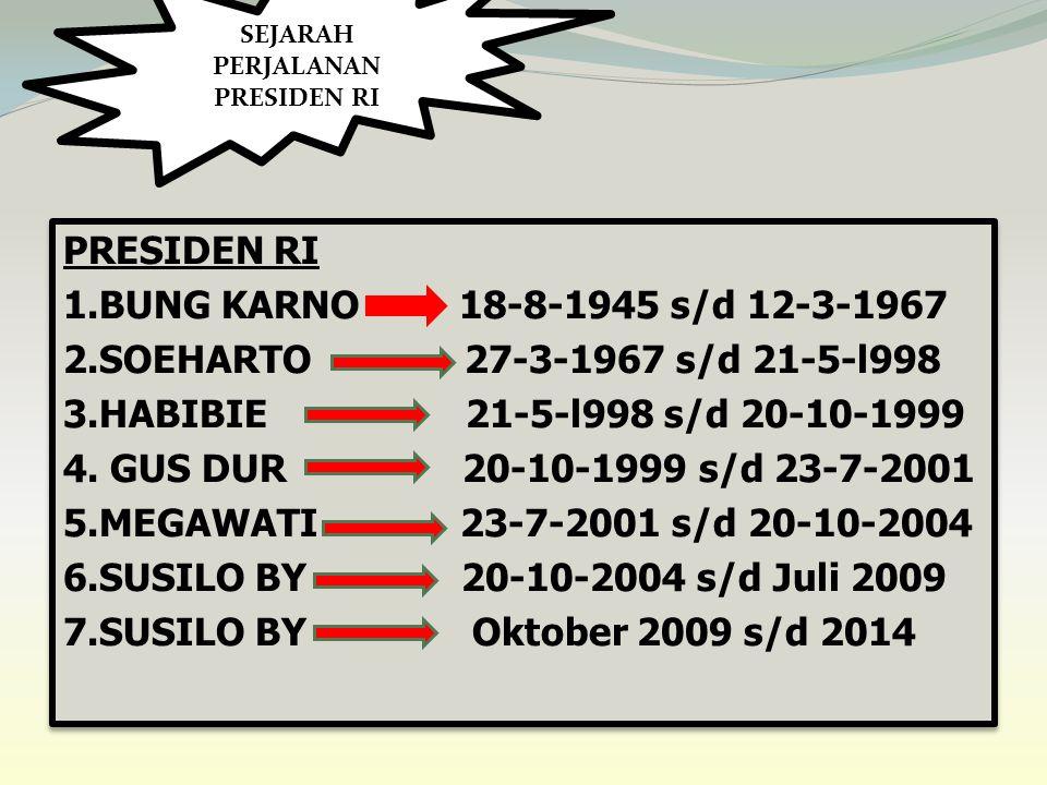 PRESIDEN RI 1.BUNG KARNO 18-8-1945 s/d 12-3-1967 2.SOEHARTO 27-3-1967 s/d 21-5-l998 3.HABIBIE 21-5-l998 s/d 20-10-1999 4.
