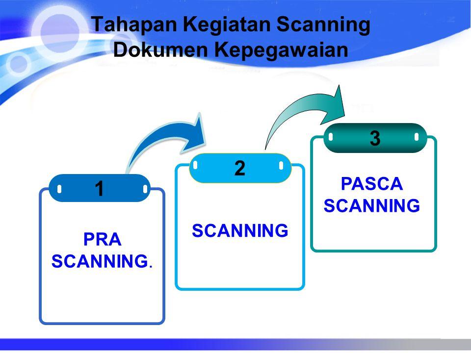 Tahapan Kegiatan Scanning Dokumen Kepegawaian 2 3 1 PRA SCANNING. SCANNING PASCA SCANNING