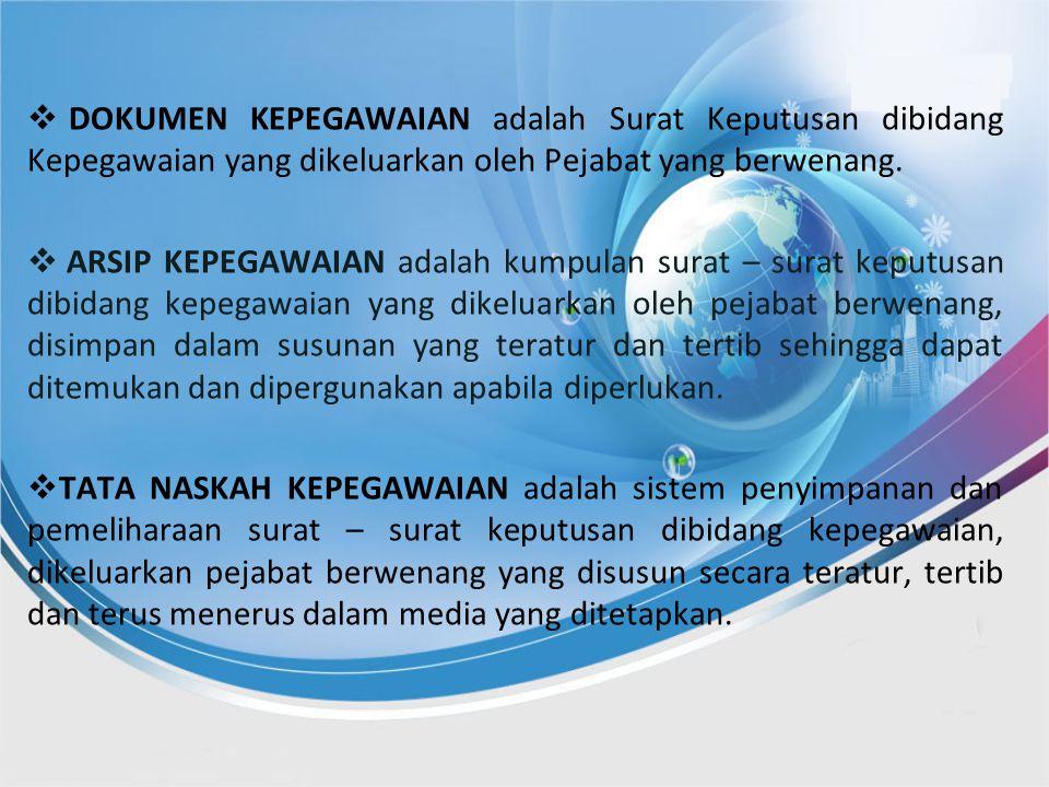  D DOKUMEN KEPEGAWAIAN adalah Surat Keputusan dibidang Kepegawaian yang dikeluarkan oleh Pejabat yang berwenang.  A ARSIP KEPEGAWAIAN adalah kumpu