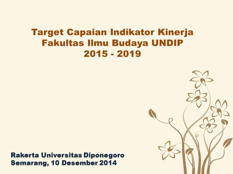 Target Capaian Indikator Kinerja Fakultas Ilmu Budaya UNDIP 2015 - 2019 Rakerta Universitas Diponegoro Semarang, 10 Desember 2014