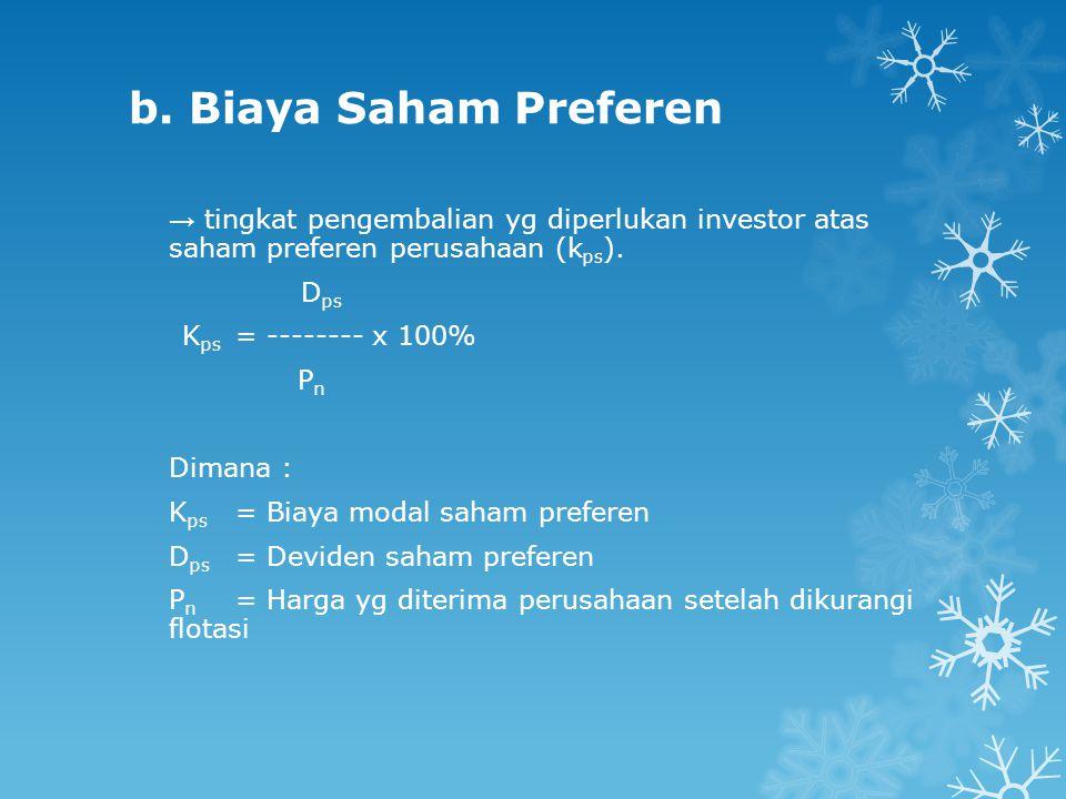 b. Biaya Saham Preferen → tingkat pengembalian yg diperlukan investor atas saham preferen perusahaan (k ps ). D ps K ps = -------- x 100% P n Dimana :