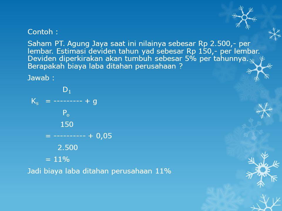 Contoh : Saham PT.Agung Jaya saat ini nilainya sebesar Rp 2.500,- per lembar.