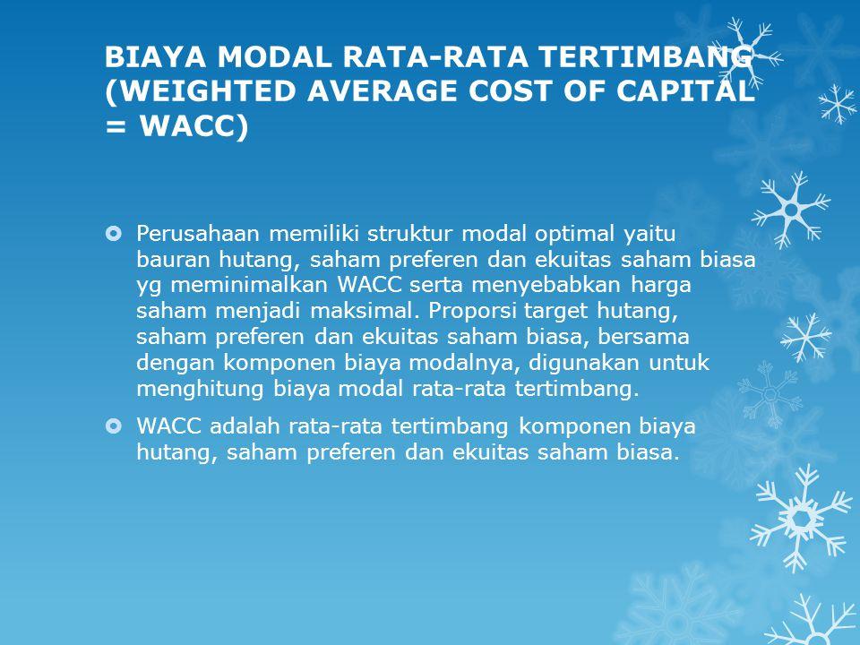 BIAYA MODAL RATA-RATA TERTIMBANG (WEIGHTED AVERAGE COST OF CAPITAL = WACC)  Perusahaan memiliki struktur modal optimal yaitu bauran hutang, saham pre