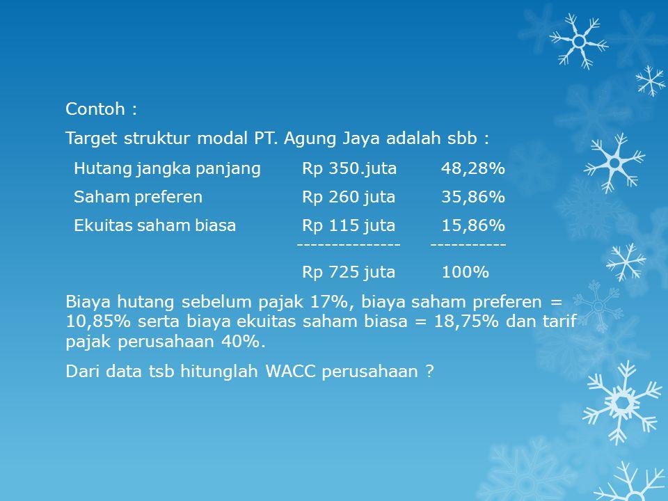 Contoh : Target struktur modal PT. Agung Jaya adalah sbb : Hutang jangka panjang Rp 350.juta48,28% Saham preferen Rp 260 juta35,86% Ekuitas saham bias