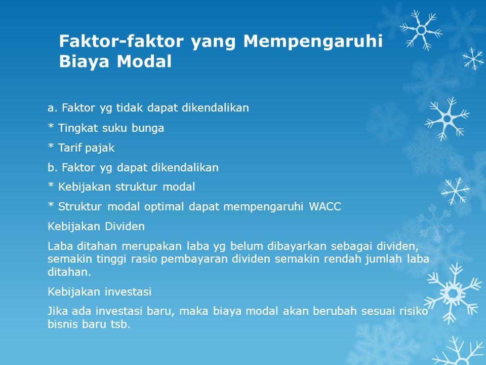 Faktor-faktor yang Mempengaruhi Biaya Modal a. Faktor yg tidak dapat dikendalikan * Tingkat suku bunga * Tarif pajak b. Faktor yg dapat dikendalikan *