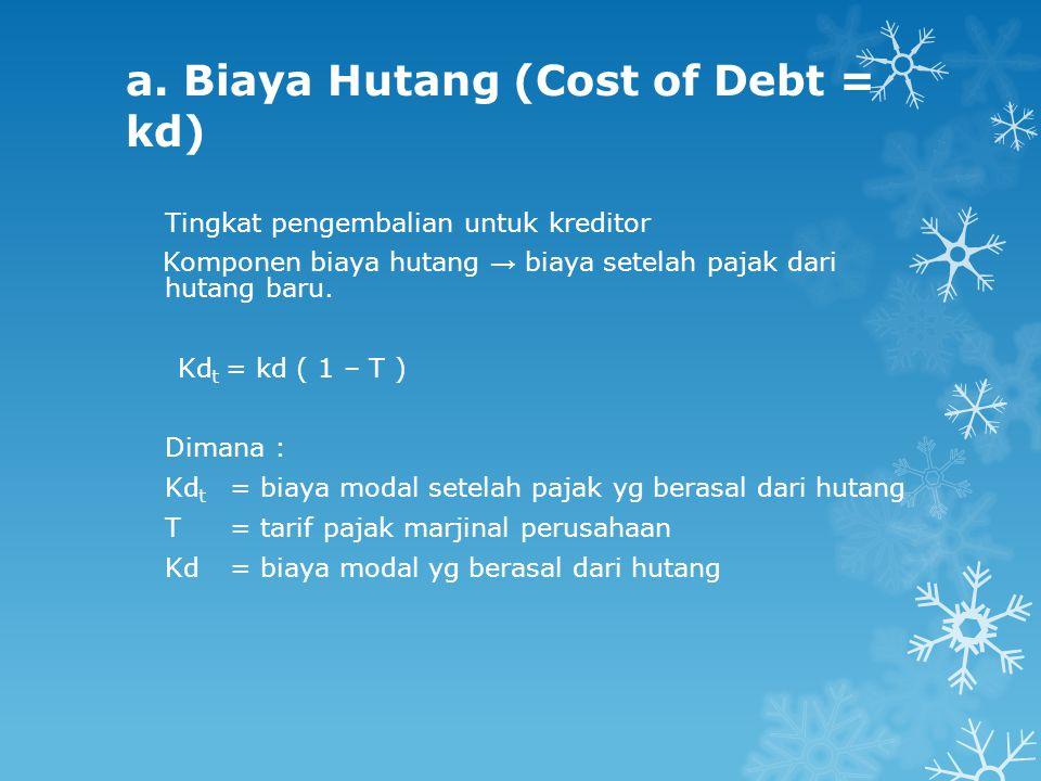 a. Biaya Hutang (Cost of Debt = kd) Tingkat pengembalian untuk kreditor Komponen biaya hutang → biaya setelah pajak dari hutang baru. Kd t = kd ( 1 –