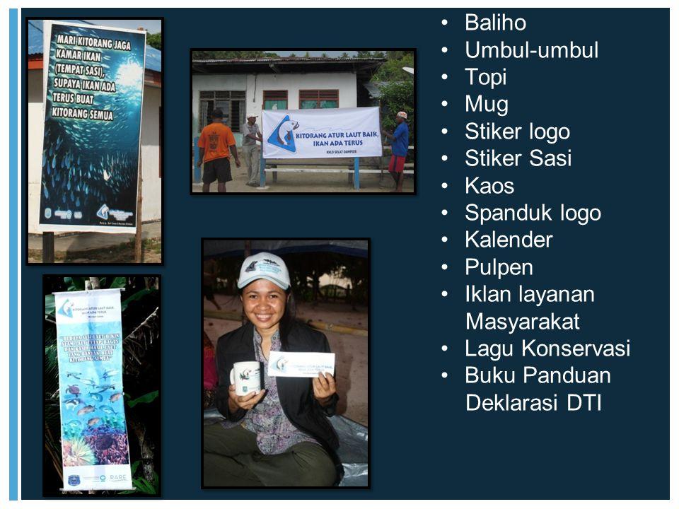 Baliho Umbul-umbul Topi Mug Stiker logo Stiker Sasi Kaos Spanduk logo Kalender Pulpen Iklan layanan Masyarakat Lagu Konservasi Buku Panduan Deklarasi