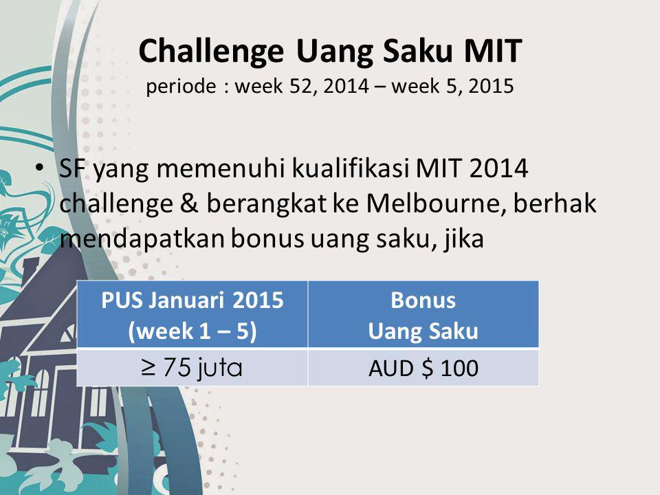Challenge Uang Saku MIT periode : week 52, 2014 – week 5, 2015 SF yang memenuhi kualifikasi MIT 2014 challenge & berangkat ke Melbourne, berhak mendap