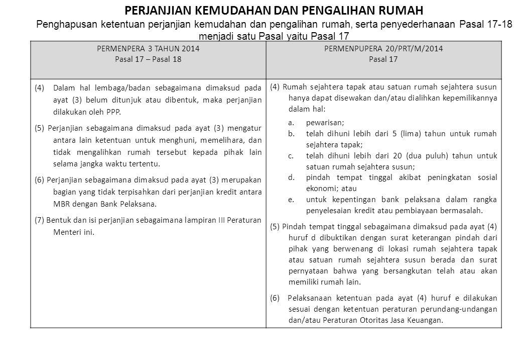 PERJANJIAN KEMUDAHAN DAN PENGALIHAN RUMAH Penghapusan ketentuan perjanjian kemudahan dan pengalihan rumah, serta penyederhanaan Pasal 17-18 menjadi satu Pasal yaitu Pasal 17 PERMENPERA 3 TAHUN 2014 Pasal 17 – Pasal 18 PERMENPUPERA 20/PRT/M/2014 Pasal 17 (4) Dalam hal lembaga/badan sebagaimana dimaksud pada ayat (3) belum ditunjuk atau dibentuk, maka perjanjian dilakukan oleh PPP.