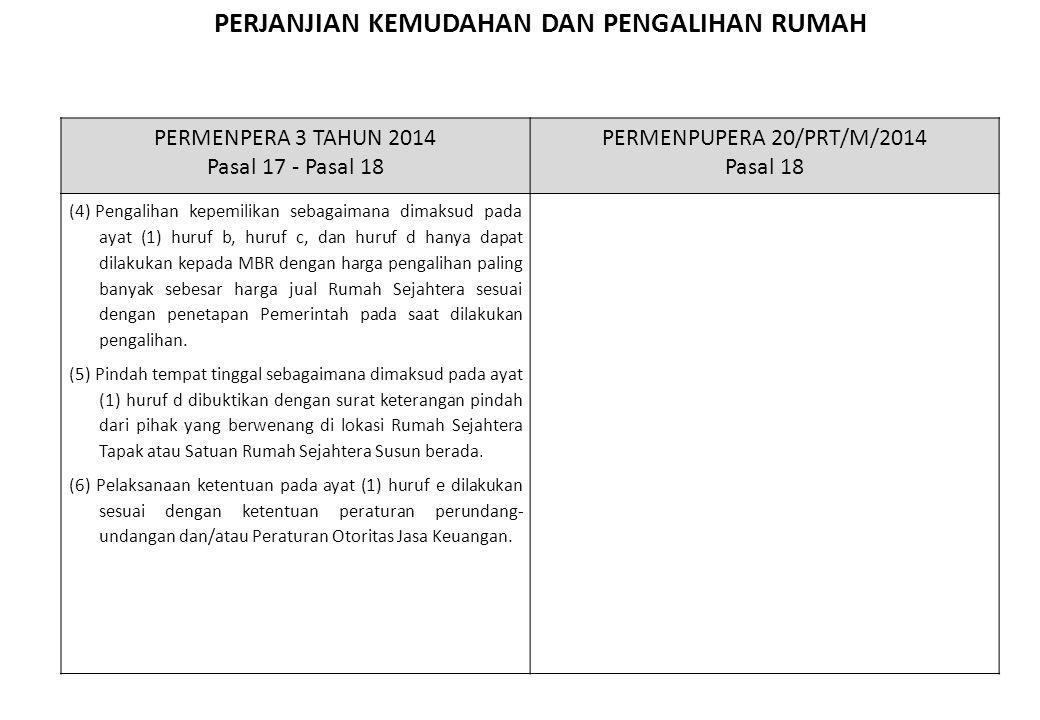 PERJANJIAN KEMUDAHAN DAN PENGALIHAN RUMAH Penghapusan ketentuan perjanjian kemudahan dan pengalihan rumah, serta penyederhanaan Pasal 17-18 menjadi satu Pasal yaitu Pasal 17 PERMENPERA 3 TAHUN 2014 Pasal 17 - Pasal 18 PERMENPUPERA 20/PRT/M/2014 Pasal 18 (4) Pengalihan kepemilikan sebagaimana dimaksud pada ayat (1) huruf b, huruf c, dan huruf d hanya dapat dilakukan kepada MBR dengan harga pengalihan paling banyak sebesar harga jual Rumah Sejahtera sesuai dengan penetapan Pemerintah pada saat dilakukan pengalihan.