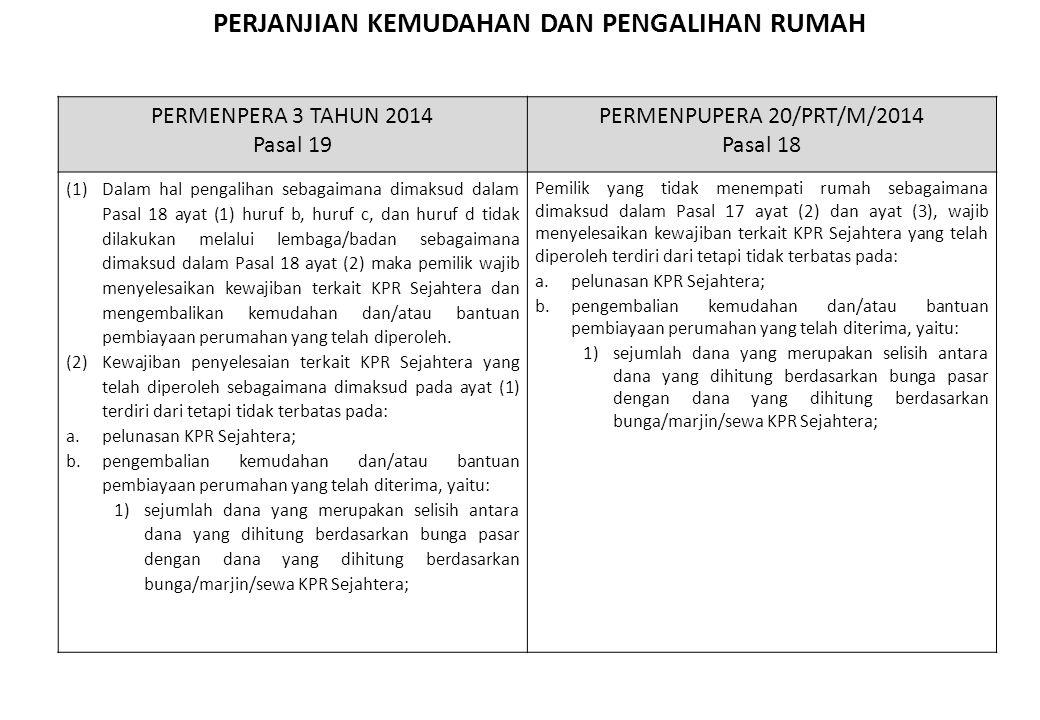 PERJANJIAN KEMUDAHAN DAN PENGALIHAN RUMAH Penghapusan ketentuan perjanjian kemudahan dan pengalihan rumah, serta penyederhanaan Pasal 17-18 menjadi satu Pasal yaitu Pasal 17 PERMENPERA 3 TAHUN 2014 Pasal 19 PERMENPUPERA 20/PRT/M/2014 Pasal 18 (1)Dalam hal pengalihan sebagaimana dimaksud dalam Pasal 18 ayat (1) huruf b, huruf c, dan huruf d tidak dilakukan melalui lembaga/badan sebagaimana dimaksud dalam Pasal 18 ayat (2) maka pemilik wajib menyelesaikan kewajiban terkait KPR Sejahtera dan mengembalikan kemudahan dan/atau bantuan pembiayaan perumahan yang telah diperoleh.