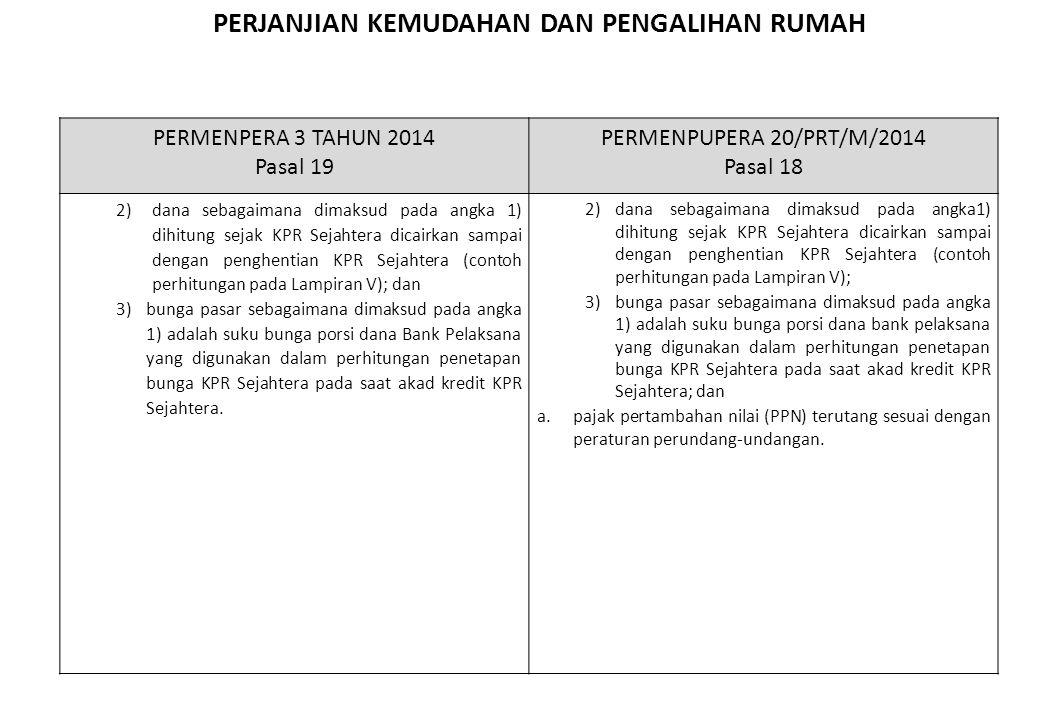 PERJANJIAN KEMUDAHAN DAN PENGALIHAN RUMAH Penghapusan ketentuan perjanjian kemudahan dan pengalihan rumah, serta penyederhanaan Pasal 17-18 menjadi satu Pasal yaitu Pasal 17 PERMENPERA 3 TAHUN 2014 Pasal 19 PERMENPUPERA 20/PRT/M/2014 Pasal 18 2)dana sebagaimana dimaksud pada angka 1) dihitung sejak KPR Sejahtera dicairkan sampai dengan penghentian KPR Sejahtera (contoh perhitungan pada Lampiran V); dan 3)bunga pasar sebagaimana dimaksud pada angka 1) adalah suku bunga porsi dana Bank Pelaksana yang digunakan dalam perhitungan penetapan bunga KPR Sejahtera pada saat akad kredit KPR Sejahtera.