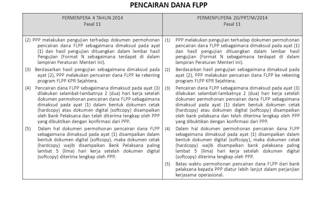 PENCAIRAN DANA FLPP PERMENPERA 4 TAHUN 2014 Pasal 11 PERMENPUPERA 20/PRT/M/2014 Pasal 11 (2) PPP melakukan pengujian terhadap dokumen permohonan penca