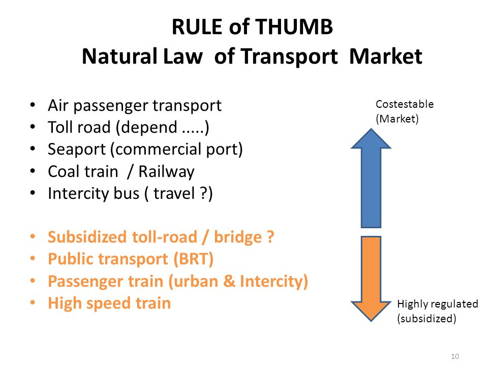 Air passenger transport Toll road (depend.....) Seaport (commercial port) Coal train / Railway Intercity bus ( travel ) Subsidized toll-road / bridge .