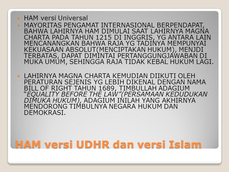 HAM versi UDHR dan versi Islam HAM versi Universal MAYORITAS PENGAMAT INTERNASIONAL BERPENDAPAT, BAHWA LAHIRNYA HAM DIMULAI SAAT LAHIRNYA MAGNA CHARTA