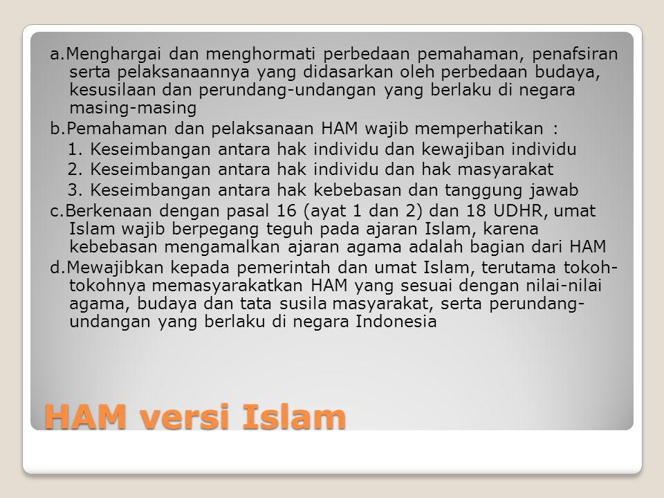 HAM versi Islam a.Menghargai dan menghormati perbedaan pemahaman, penafsiran serta pelaksanaannya yang didasarkan oleh perbedaan budaya, kesusilaan da