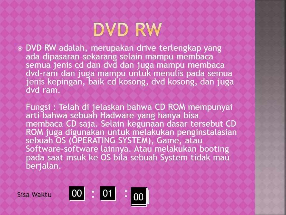  DVD RW adalah, merupakan drive terlengkap yang ada dipasaran sekarang selain mampu membaca semua jenis cd dan dvd dan juga mampu membaca dvd-ram dan juga mampu untuk menulis pada semua jenis kepingan, baik cd kosong, dvd kosong, dan juga dvd ram.