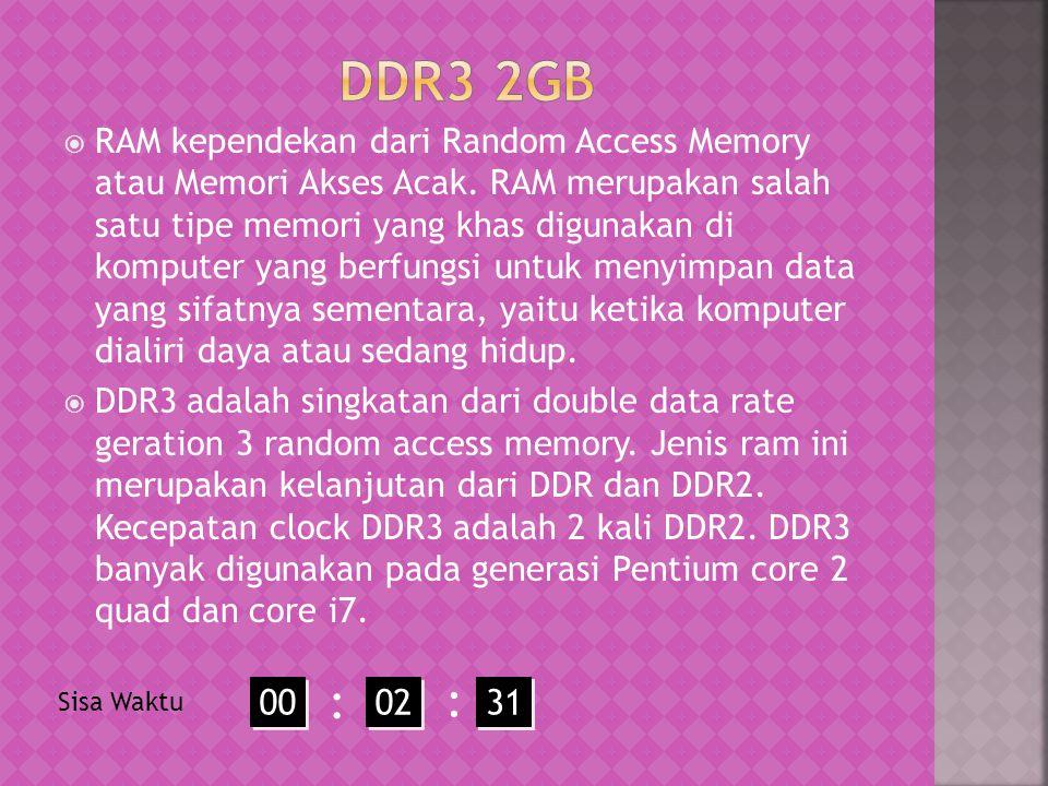  RAM kependekan dari Random Access Memory atau Memori Akses Acak.