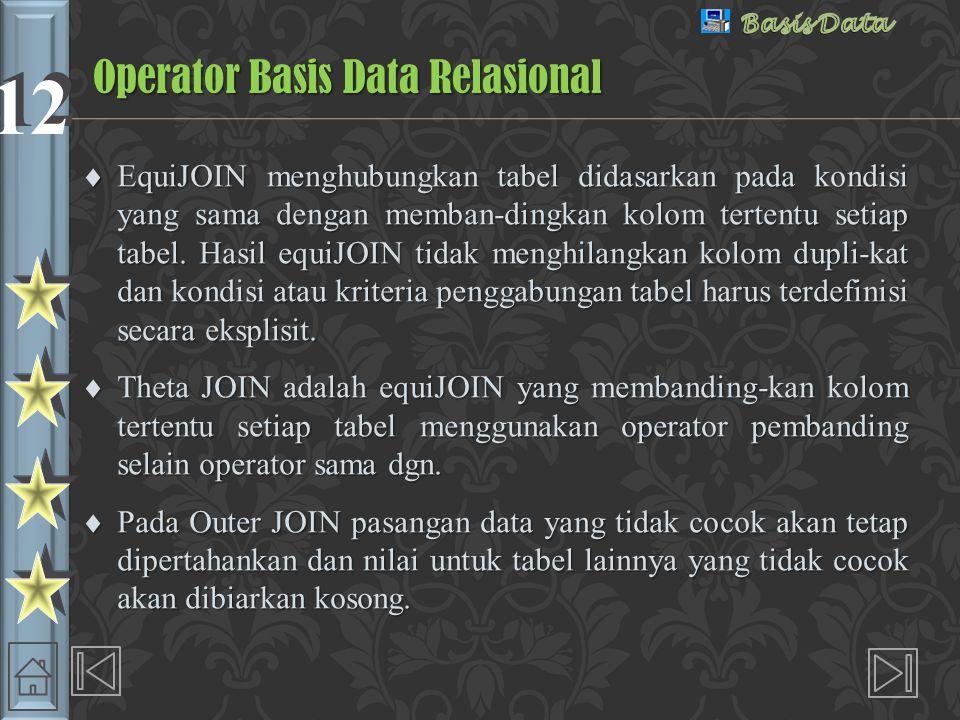 12 Outer JOIN Operator Basis Data Relasional MhsSKSIPKKode_WaliWali Wandi212.751Suminto Toni203.421Suminto Rudi182.452Farid Susi182.032Farid 3Ganjar Tatik223.684 Gambar 2.15.