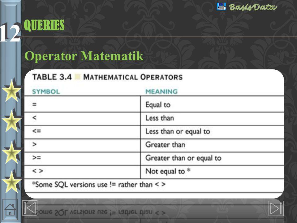 12 Operator Matematik QUERIESQUERIES