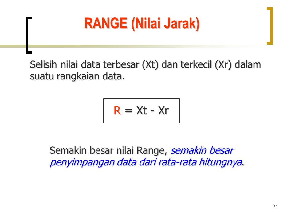 67 RANGE (Nilai Jarak) Selisih nilai data terbesar (Xt) dan terkecil (Xr) dalam suatu rangkaian data. R = Xt - Xr Semakin besar nilai Range, semakin b