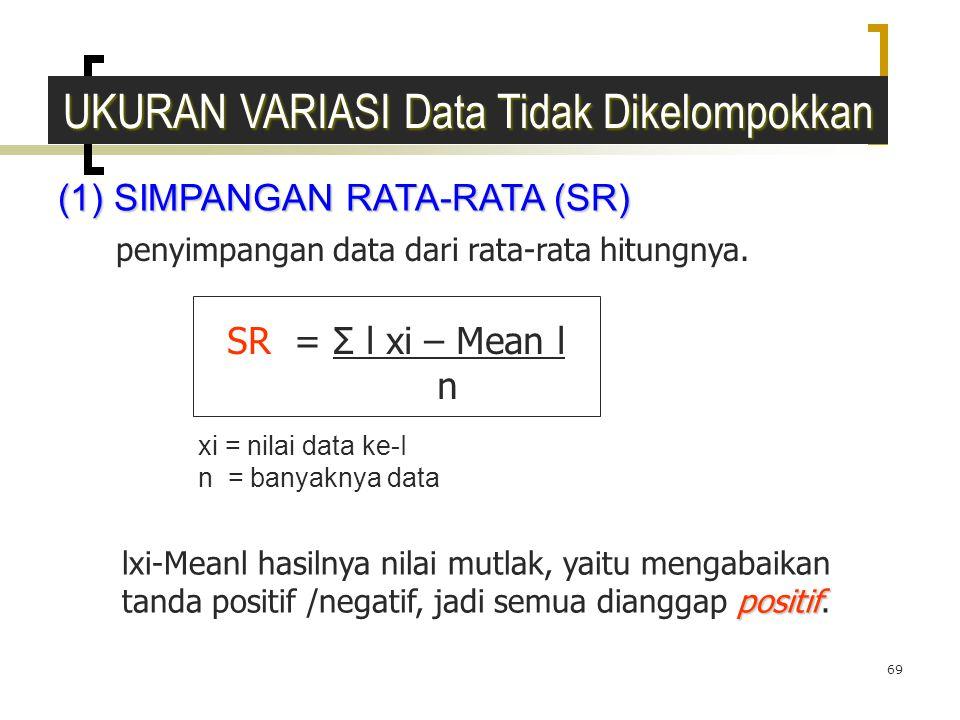 69 (1) SIMPANGAN RATA-RATA (SR) UKURAN VARIASI Data Tidak Dikelompokkan penyimpangan data dari rata-rata hitungnya. SR = Σ l xi – Mean l n positif lxi