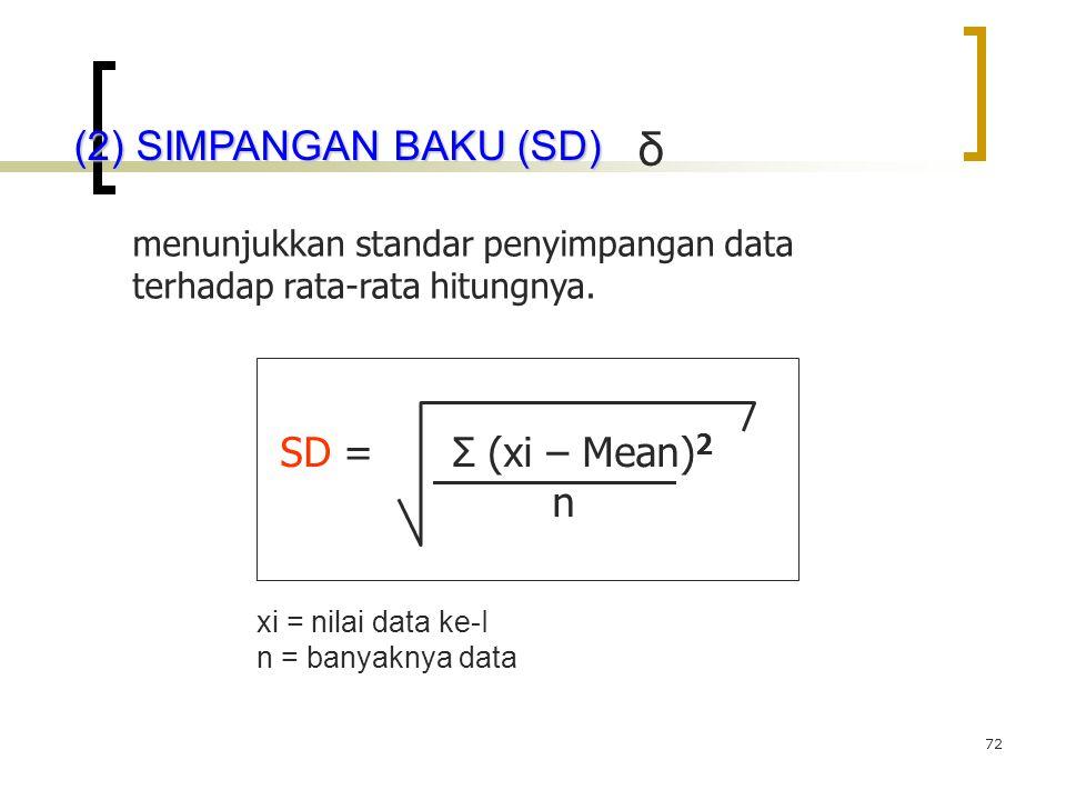 72 (2) SIMPANGAN BAKU (SD) menunjukkan standar penyimpangan data terhadap rata-rata hitungnya. SD = Σ (xi – Mean) 2 n δ xi = nilai data ke-I n = banya
