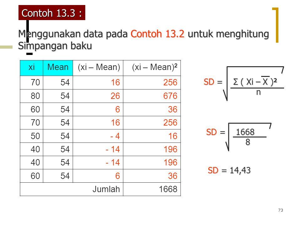 73 Contoh 13.3 : xiMean(xi – Mean)(xi – Mean) 2 705416256 805426676 6054636 705416256 5054- 416 4054 - 14196 4054- 14196 6054636 Jumlah1668 Menggunaka