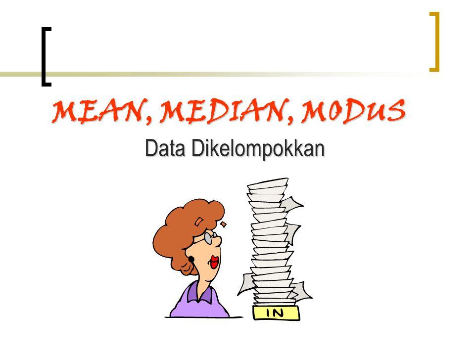 diperoleh dari jumlah seluruh perkalian antara frekuensi data ke-i (fi) dengan Nilai Tengah setiap Kelas ke-i (NTKi) kemudian dibagi banyaknya data (n).diperoleh dari jumlah seluruh perkalian antara frekuensi data ke-i (fi) dengan Nilai Tengah setiap Kelas ke-i (NTKi) kemudian dibagi banyaknya data (n).