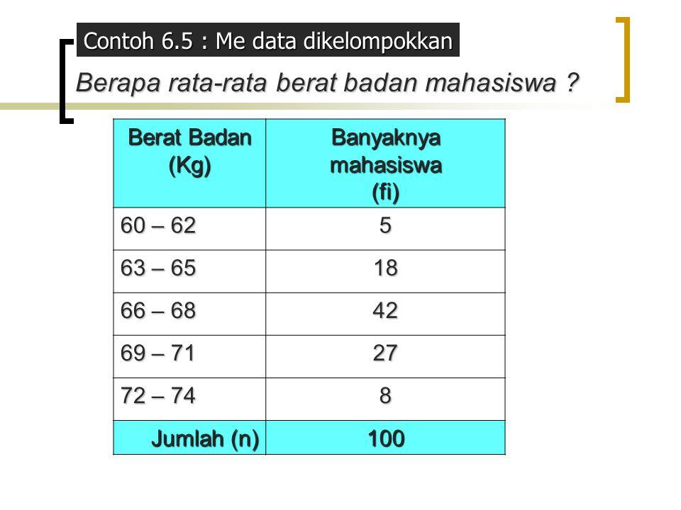 Berat Badan Berat Badan(Kg) Banyaknya mahasiswa (fi)NTKifi.NTKi 60 – 62 561305 63 – 65 18641152 66 – 68 42672814 69 – 71 27701890 72 – 74 873584 Jumlah1006745 (6745 / 100) = 67,4 ≈ 67 = x kel = Σ fiNTK i ni=1 n Jadi Me kel berat badan mahasiswa adalah 67