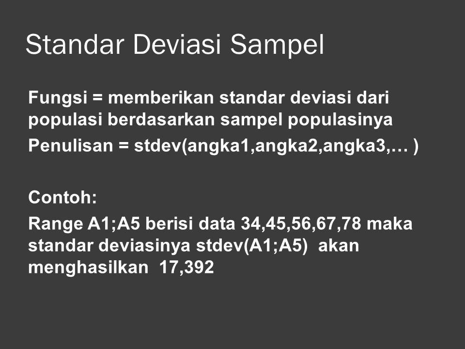 Variasi Populasi Fungsi = menghitung variasi data dalam satu list atau range berdasarkan sampel populasi Penulisan = varp(angka1,angka2, … ) Fungsi ini hampir sama penggunaanya dengan fungsi var()