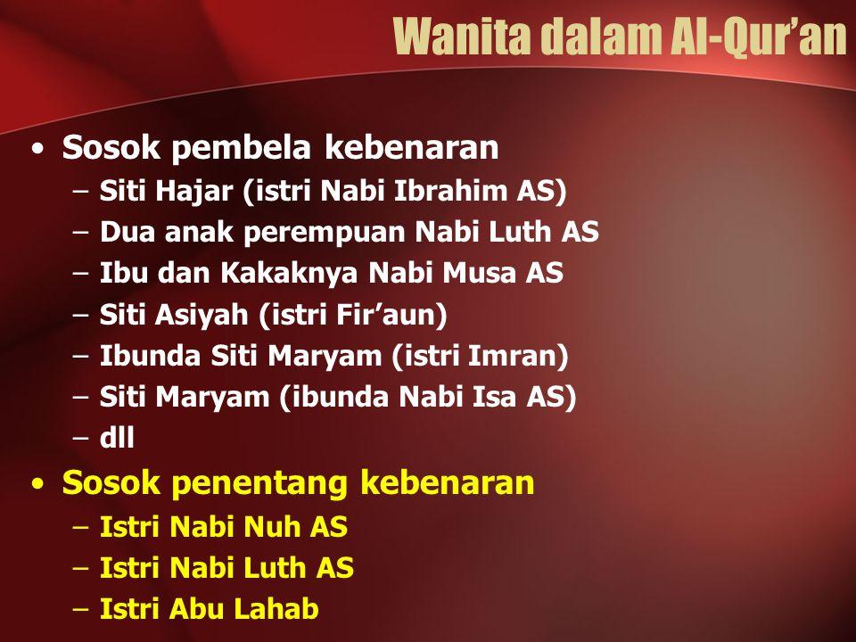 Wanita dalam Al-Qur'an Sosok pembela kebenaran –Siti Hajar (istri Nabi Ibrahim AS) –Dua anak perempuan Nabi Luth AS –Ibu dan Kakaknya Nabi Musa AS –Si