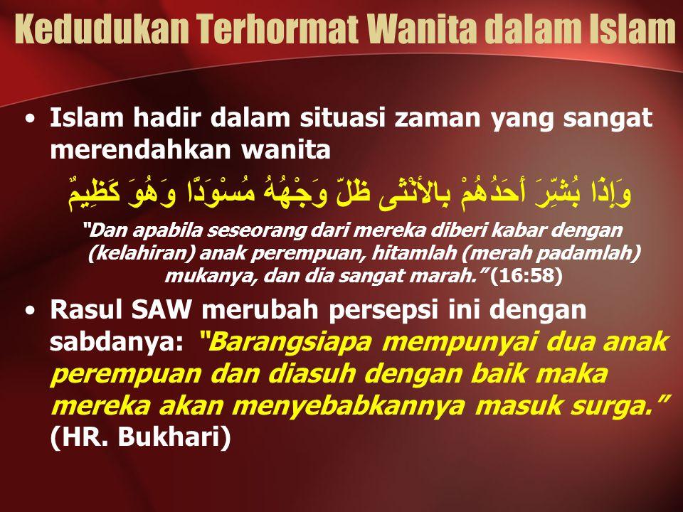 Kedudukan Terhormat Wanita dalam Islam Islam hadir dalam situasi zaman yang sangat merendahkan wanita وَإِذَا بُشِّرَ أَحَدُهُمْ بِالأنْثَى ظَلَّ وَجْ