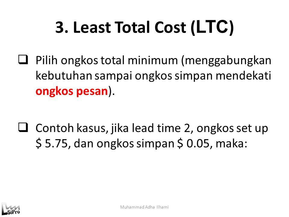 3. Least Total Cost ( LTC ) Muhammad Adha Ilhami  Pilih ongkos total minimum (menggabungkan kebutuhan sampai ongkos simpan mendekati ongkos pesan). 