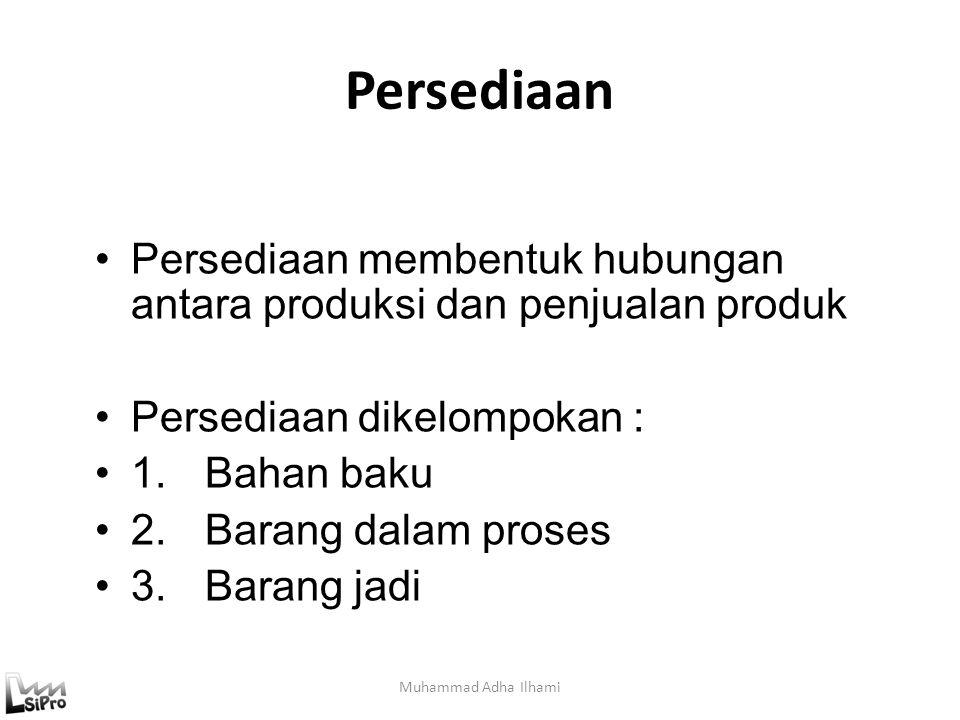 Persediaan Muhammad Adha Ilhami Persediaan membentuk hubungan antara produksi dan penjualan produk Persediaan dikelompokan : 1.