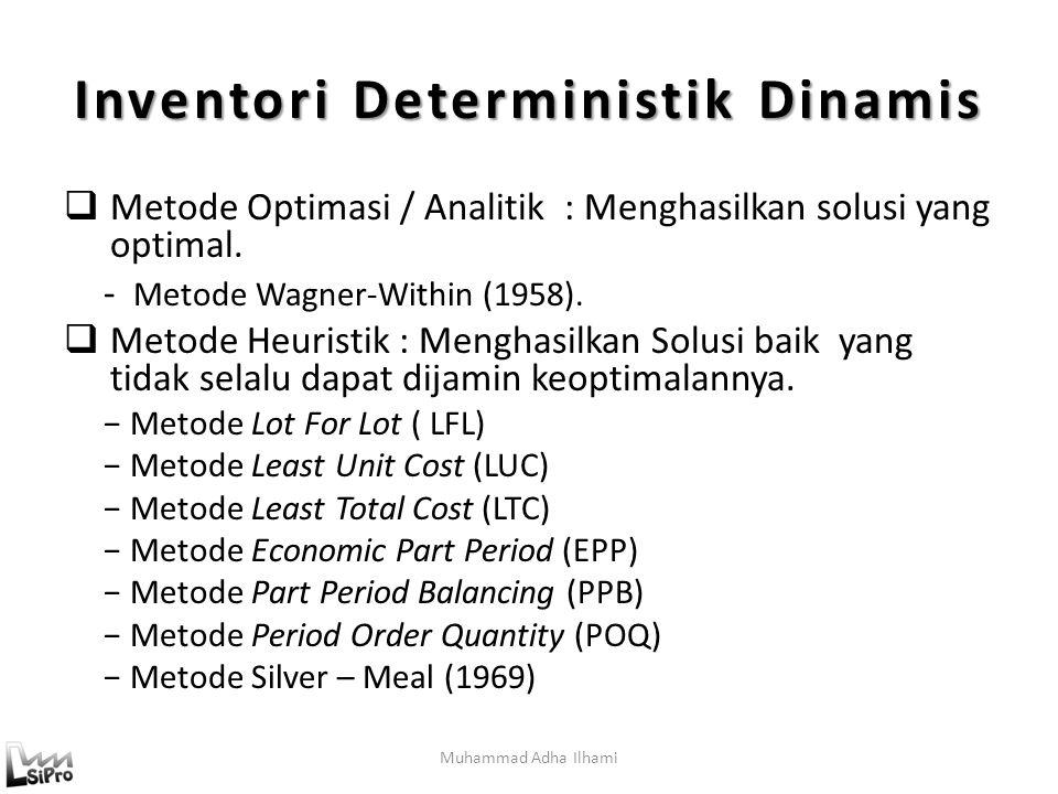 Muhammad Adha Ilhami Inventori Deterministik Dinamis  Metode Optimasi / Analitik : Menghasilkan solusi yang optimal.
