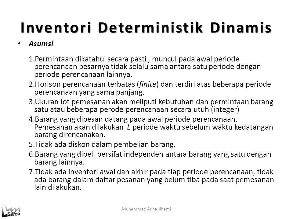 Muhammad Adha Ilhami Inventori Deterministik Dinamis Asumsi 1.Permintaan dikatahui secara pasti, muncul pada awal periode perencanaan besarnya tidak selalu sama antara satu periode dengan periode perencanaan lainnya.