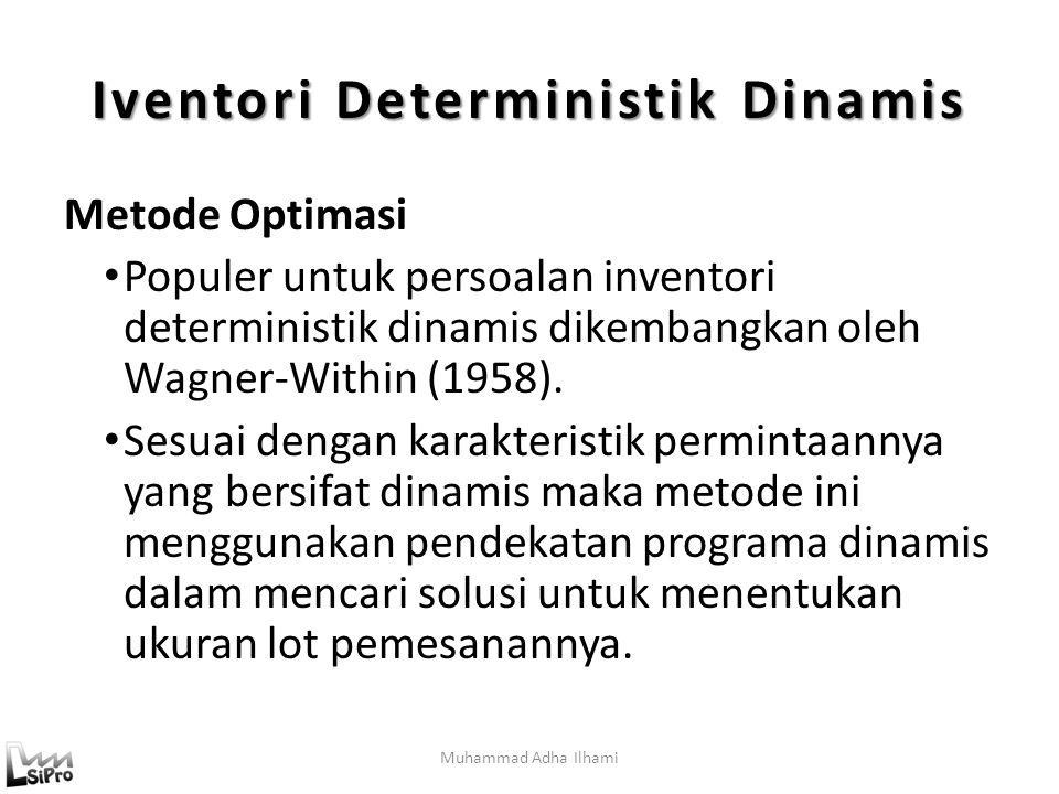 Muhammad Adha Ilhami Iventori Deterministik Dinamis Metode Optimasi Populer untuk persoalan inventori deterministik dinamis dikembangkan oleh Wagner-Within (1958).